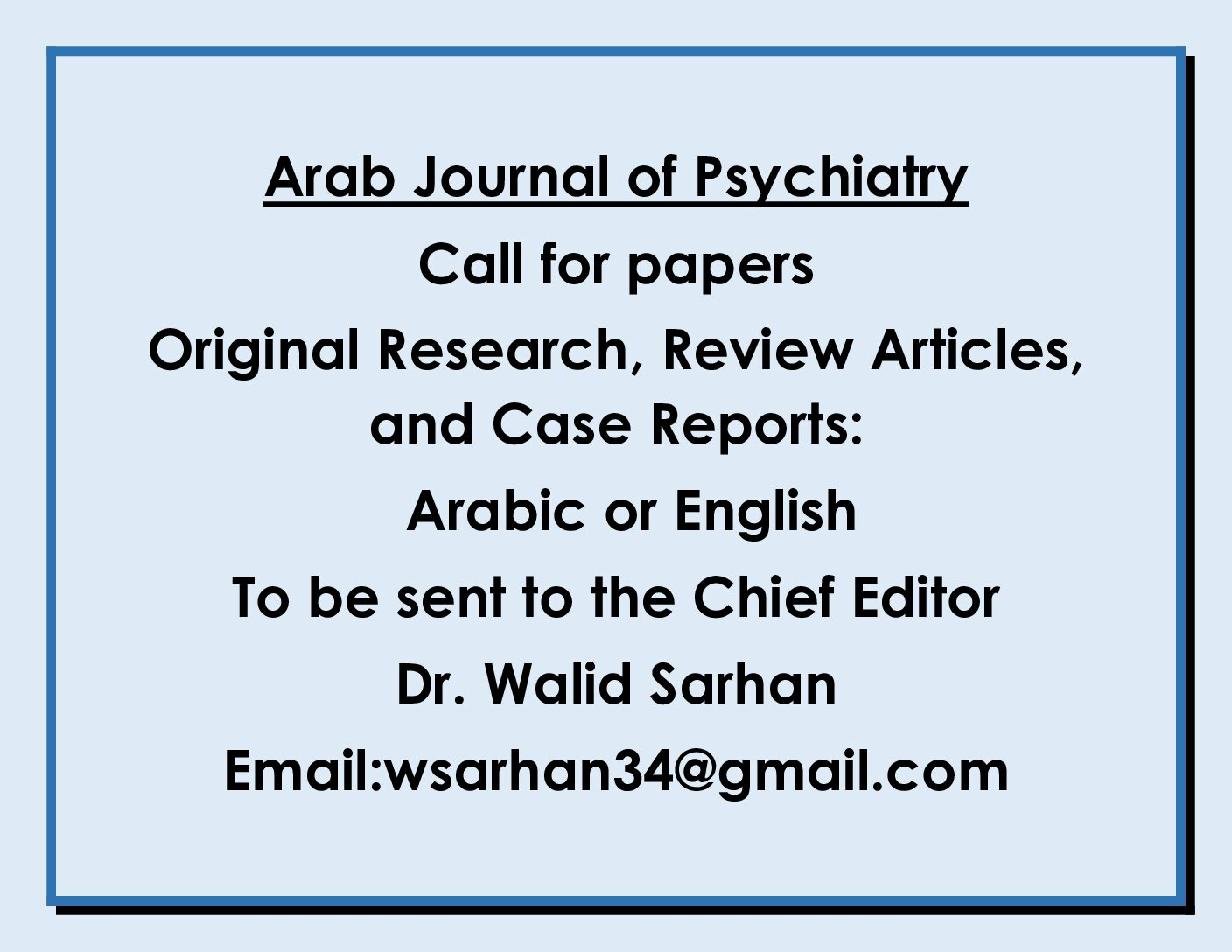 Arab Journal of Psychiatry